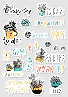Heldere set stickers voor dagelijkse planning