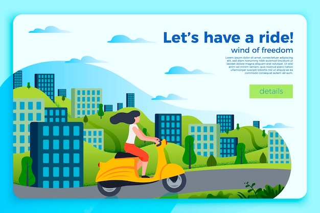 Heldere sjabloon voor spandoek met meisje op een motor. stad en groene heuvels