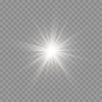 Heldere ster. de ster barstte van schittering. geel gloeiend licht