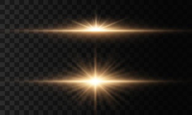 Heldere ster, fonkelt doorzichtige stralende zon, flitslichteffect. gloeiende lichten en sterren geïsoleerd. set van licht explodeert. sprankelende magische stofdeeltjes.
