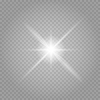 Heldere ster. transparante stralende zon, heldere flits. schittert. vector illustratie