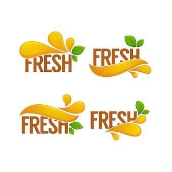 Heldere sticker, embleem en logo voor vers kersensap