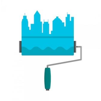 Heldere streep geschilderd op een muurverfroller. skyline van de stad. logo blauwe platte cartoon illustratie op wit wordt geïsoleerd