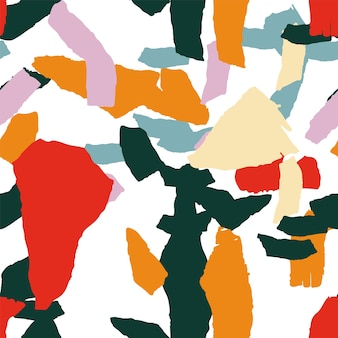 Heldere terrazzo tegel vector naadloze patroon. granieten terrazzo wandontwerp. perzik en oranje terazzo patroon.