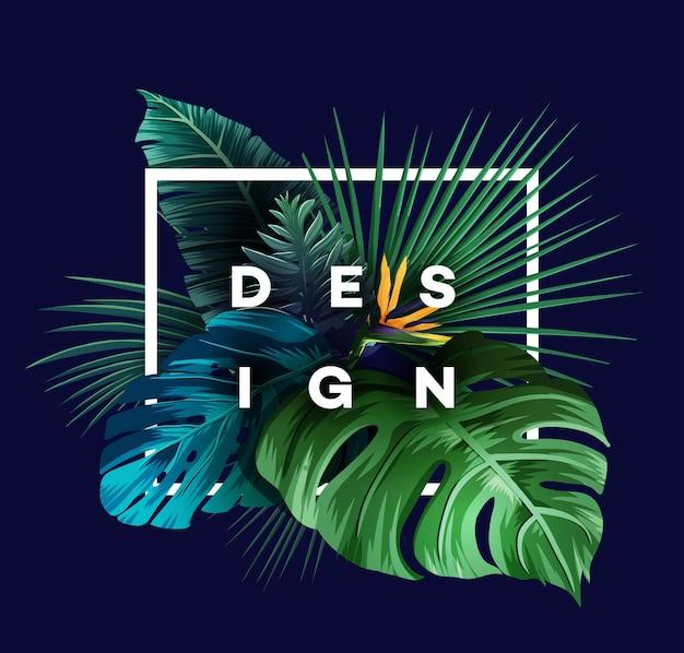 Heldere tropische achtergrond met jungle planten. exotisch patroon met palmbladeren. vector illustratie