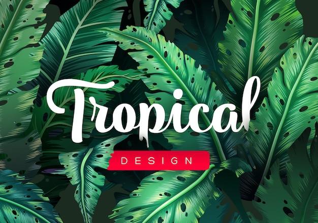 Heldere tropische achtergrond met jungleplanten exotisch patroon met tropische bladeren