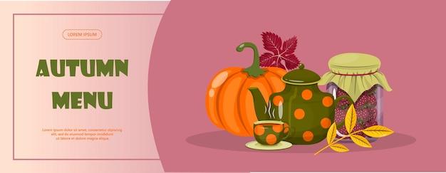 Heldere vector herfst verkoop banner hallo herfst platte ontwerp illustratie sjabloon