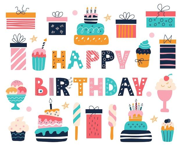 Heldere verjaardagsset met een inscriptie in de doodle-stijl taarten, cupcakes, geschenken en ijs
