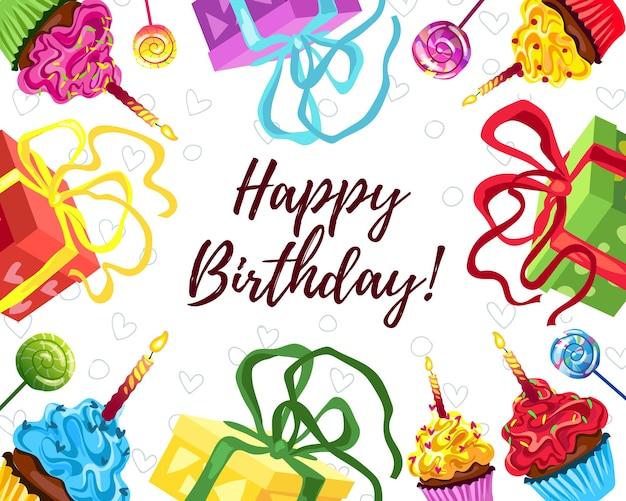 Heldere verjaardagstaart, geschenken en cupcake illustratie. gefeliciteerd met je verjaardag