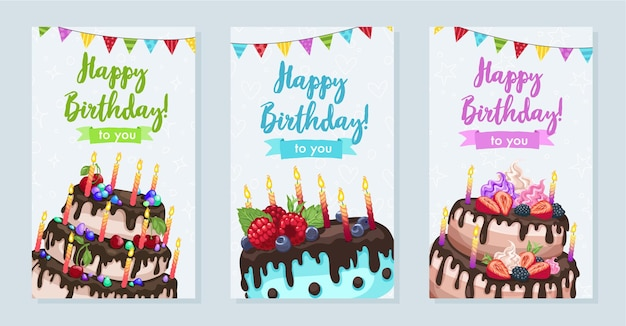 Heldere verjaardagstaarten illustratie. gelukkige verjaardag-wenskaart in verticaal formaat.