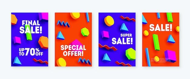 Heldere verkoopbanners met geometrische vormen