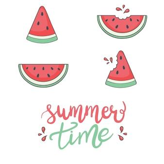 Heldere verzameling van kleurrijke halve watermeloen