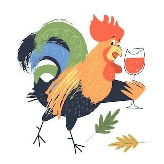 Heldere vrolijke cockerel met een glas rode wijn vectorillustratie op een witte background