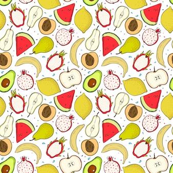 Heldere zomer fruit naadloze patroon