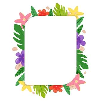 Heldere zomer sjabloon. schattige cartoon frame gemaakt van tropische bladeren, bloemen, schelpen, zeesterren. universeel ontwerp voor notebooks, fotolijsten, sociale netwerken, prijskaartjes. vectorillustratie, plat