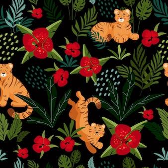 Heldere zomerse tropische patroon schattige tijger palmbladeren kinderen vector illustratie cartoon stijl