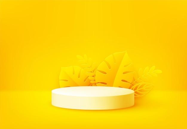 Heldergeel productpodium omringd door papier gesneden tropische palmbladeren op geel