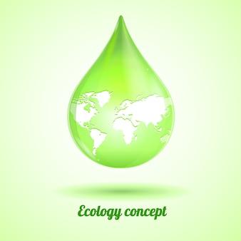Heldergroene druppel met kaart die op witte achtergrond wordt geïsoleerd. ecologie concept