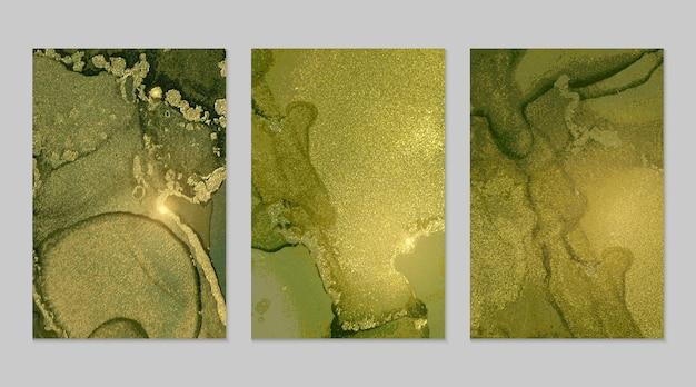 Heldergroene en gouden marmeren abstracte texturen
