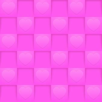 Helderroze vierkanten naadloos patroon. romantisch behang