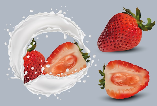 Hele aardbeien en plak met aardbeien in melk splashes.3d illustratie.