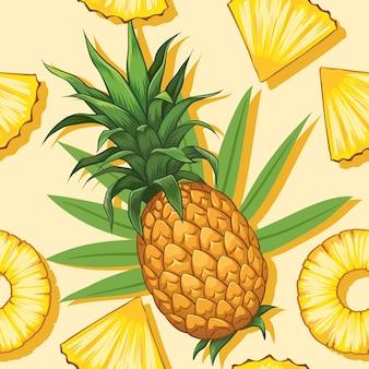 Hele ananas met plakjes handgetekend ontwerp