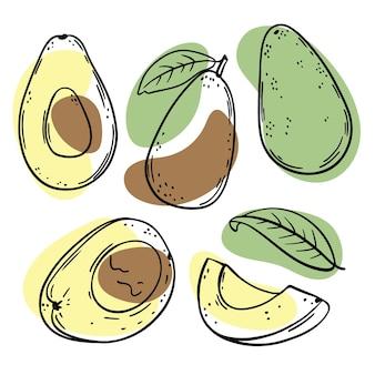 Hele avocado en halve schetsen met gele, groene en bruine kleurspatten