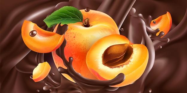 Hele en gesneden abrikozen in vloeibare chocolade.