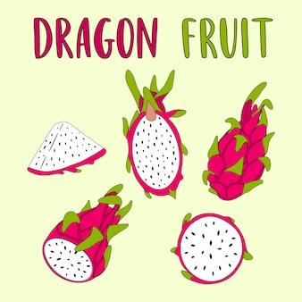 Hele en gesneden dragon fruit vectorillustratie.