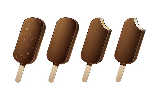 Hele gebeten popsicle choc-ice lollipop ice cream in chocolate glaze