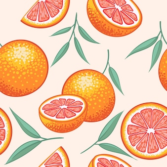 Hele grapefruit met plakjes hand getekend ontwerppatroon