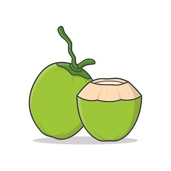 Hele groene kokos en vers drinkende kokos illustratie. groene kokosnoot flat