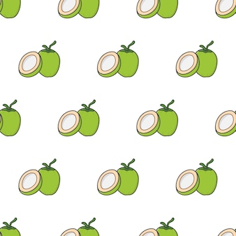 Hele kokosnoot en half kokosnoot naadloos patroon op een witte achtergrond. kokosnoot thema vectorillustratie