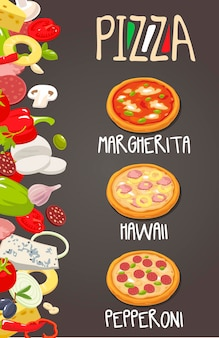 Hele pepperoni, hawaiian, margherita pizza en de ingrediënten voor de pizza. geïsoleerde vectorillustratie. voor menu's, pictogrammen webdesign infographic.