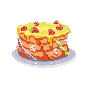 Hele torte, taart, cake gegarneerd met gele botercrème, aardbeien, crème bloemen.