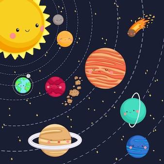 Hele zonnestelsel met planeten en sterren