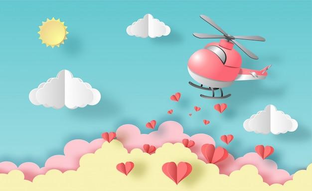 Helikopter die in de lucht met vele drijvende harten vliegt, pastelkleur voor affiches.
