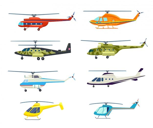 Helikopter geïsoleerde set in plat ontwerp