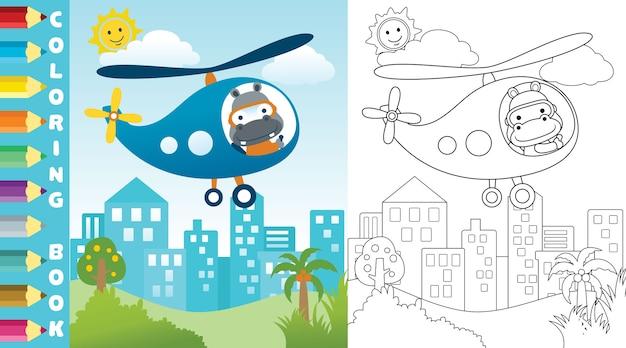 Helikopter met schattige piloot op gebouwen achtergrond