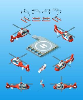 Helipads. helikopter isometrische burgerluchtvaart ingesteld stadsvervoer.