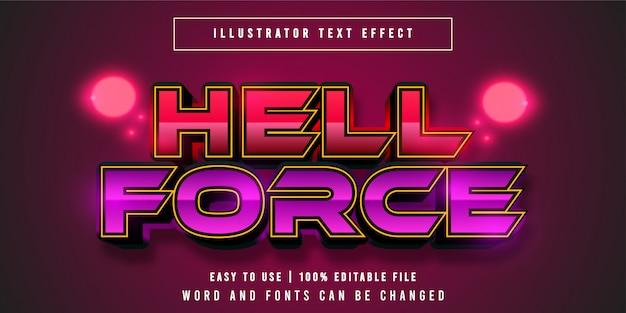 Hell force, speltitel grafische stijl bewerkbaar teksteffect