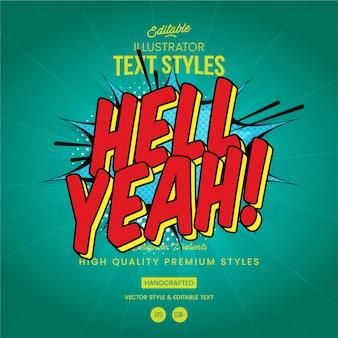 Hell yeah comics-tekststijl