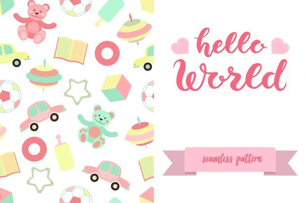 Hello world belettering poster met speelgoed patroon ontwerp