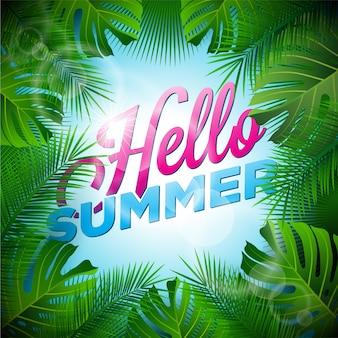 Hello zomer achtergrond palmboom ontwerp