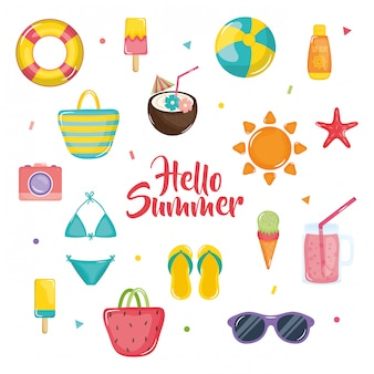 Hellow zomer illustratie met vakantie elementen