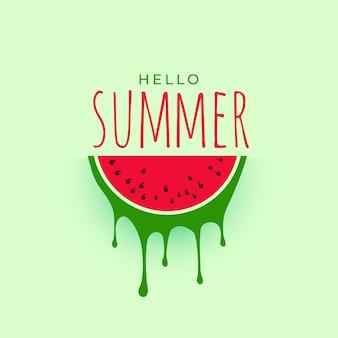 Hellow zomer watermeloen achtergrondontwerp