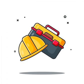 Helm en toolbox ontwerp illustraties cartoon stijl