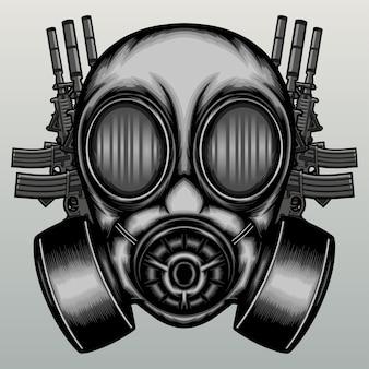Helm gasmasker met wapens in de hand getekend