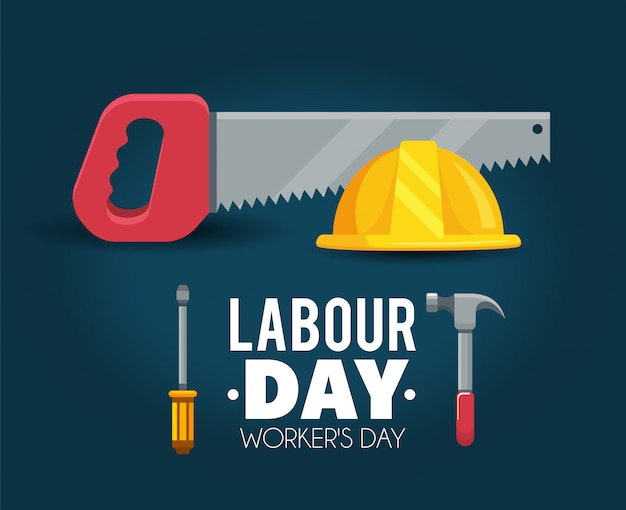 Helm met zaag aan arbeidsdagviering