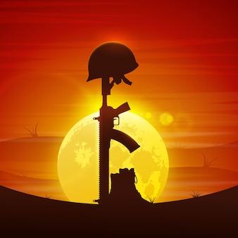 Helm op geweer illustratie